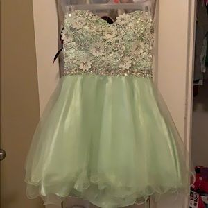 Mint green dress with beading